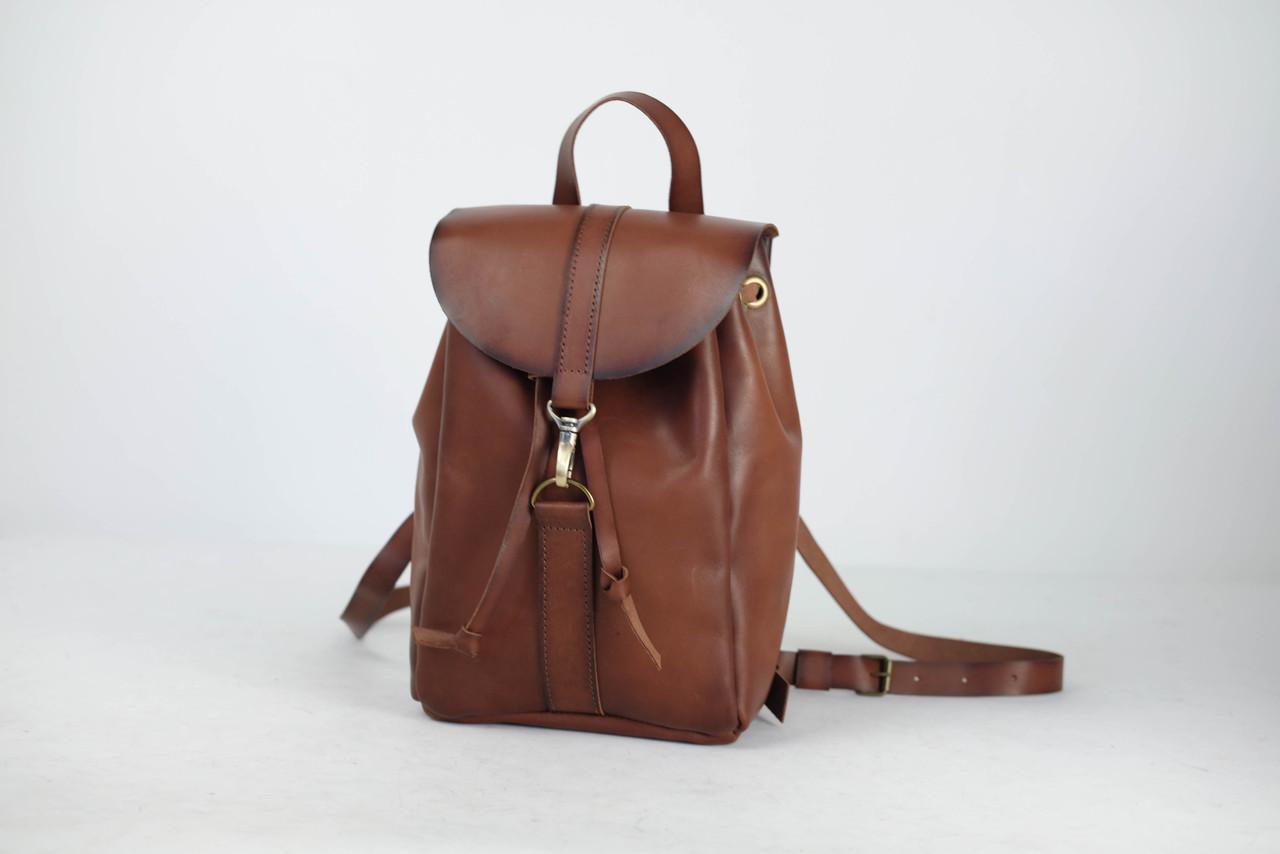Рюкзак на затяжках с карабином, размер мини Кожа Итальянский краст цвет Коричневый