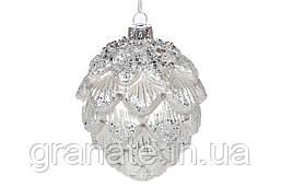 Елочные стеклянные шишки, ёлочная игрушка, елочные украшение Артишок 9 см, цвет - серебро (6 шт)