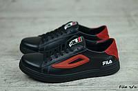 Мужские кожаные кроссовки, кеды Fila  (Реплика) (Код: Fila ч/к ) ► [40,41,42,43,44,45], фото 1