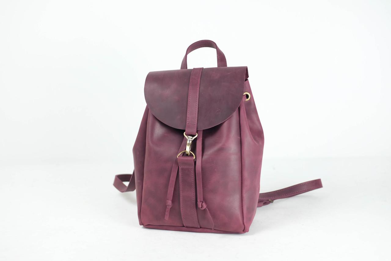 Кожаный рюкзак на затяжках с карабином, размер средний Винтажная кожа цвет Бордо