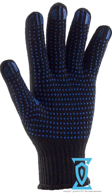 Перчатки рабочие х/б черная с пвх покрытием (Украина)