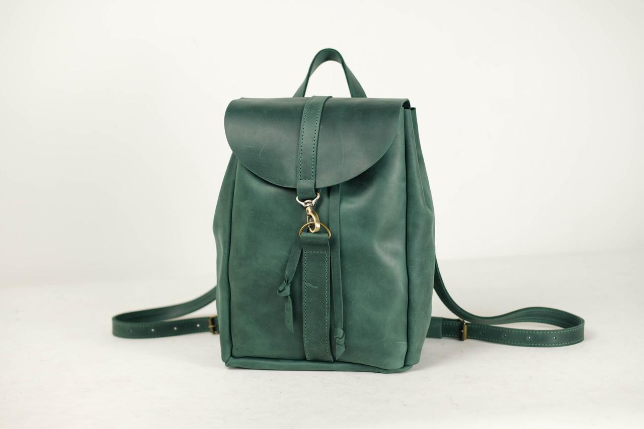 Кожаный рюкзак на затяжках с карабином, размер средний Винтажная кожа цвет Зеленый