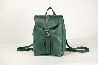 Рюкзак на затяжках с карабином, размер средний Винтажная кожа цвет Зеленый
