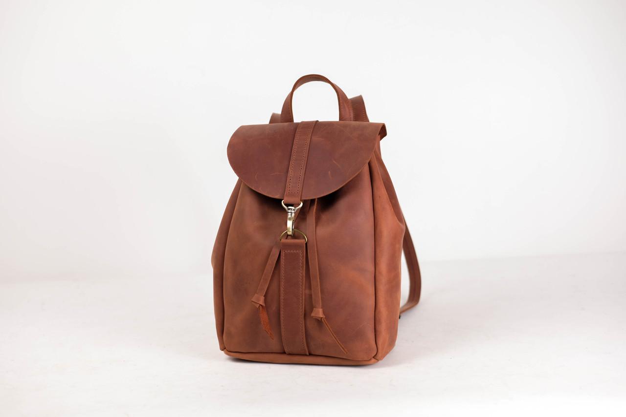 Кожаный рюкзак на затяжках с карабином, размер средний Винтажная кожа цвет Коньяк