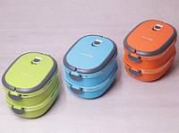 Пищевой контейнер 2 емкости по 900 мл ланч бокс Kamille KM-2109 пластиковый внутри нержавеющая сталь