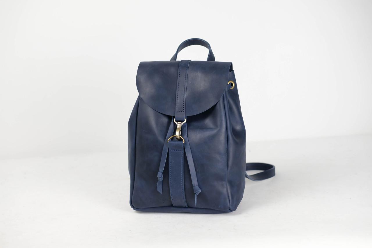Рюкзак на затяжках с карабином, размер средний Винтажная кожа цвет Синий