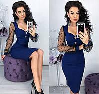 Облегающее женское платье с сеткой на рукавах с 42 по 48 рр
