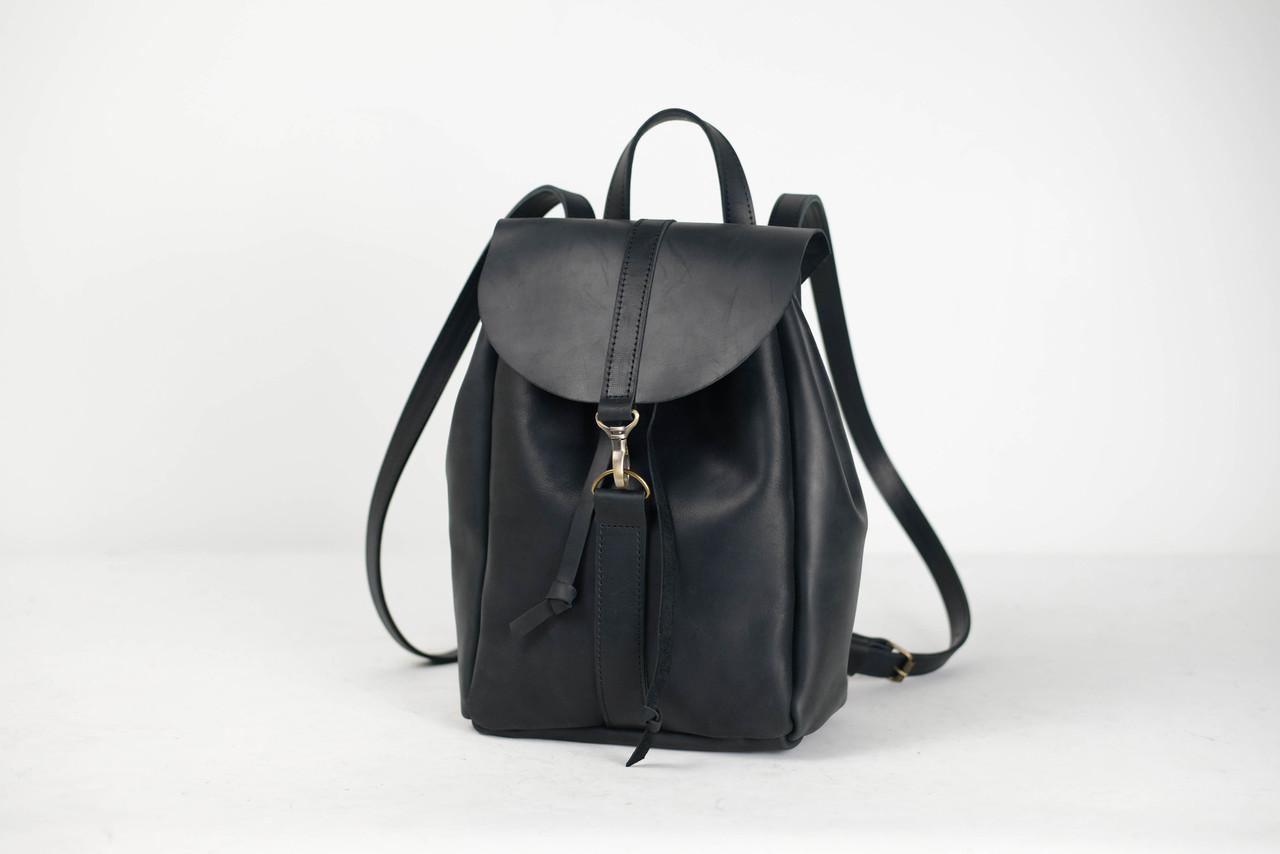 Рюкзак на затяжках с карабином, размер средний Винтажная кожа цвет Черный