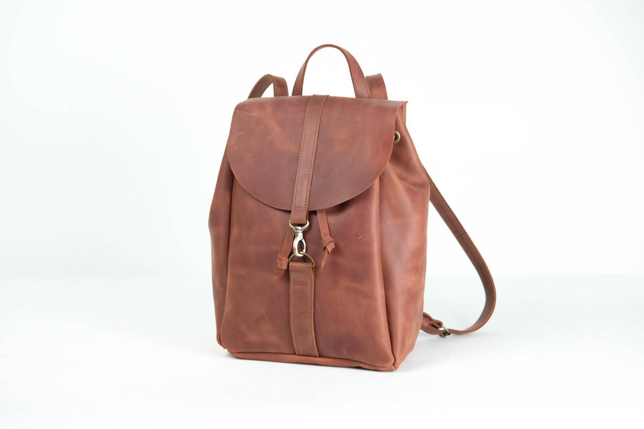 Рюкзак на затяжках с карабином, размер большой Винтажная кожа цвет Коньяк
