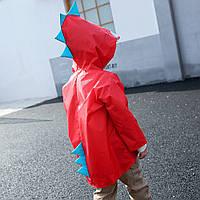 """Дитячий плащ-дощовик SUNROZ з капюшоном на кнопках """"Дракончик"""" M Червоний (SUN5255), фото 1"""