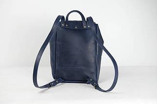 Кожаный рюкзак на затяжках с карабином, размер большой Винтажная кожа цвет Синий, фото 2