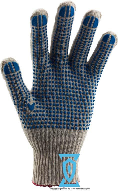 Перчатки рабочие х/б белая с пвх покрытием (Польша)