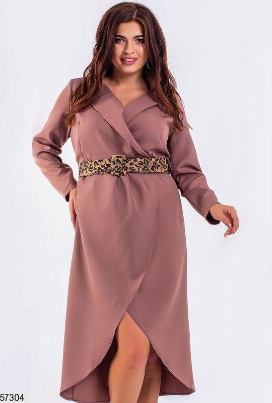 Платье больших размеров на запах капучино