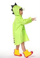"""Дитячий плащ-дощовик SUNROZ з капюшоном на кнопках """"Дракончик"""" S Зелений (SUN5260), фото 1"""