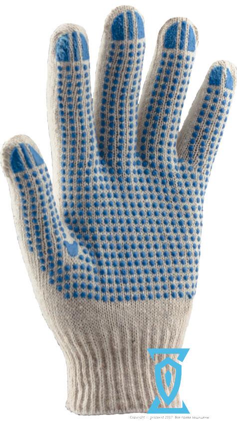 Перчатки рабочие х/б белая с пвх покрытием 9 (Польша)