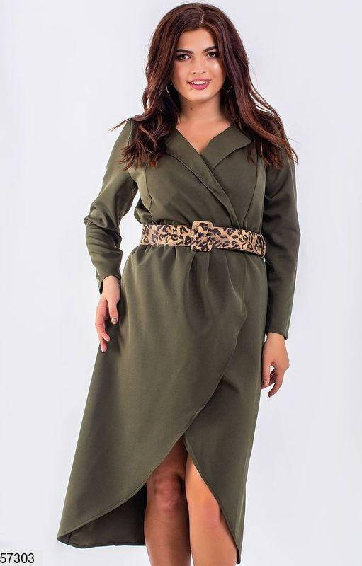 Платье больших размеров на запах цвета хаки, фото 2