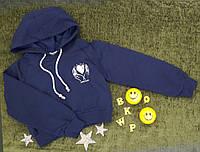 Кроп-топ с капюшоном, р. 8-14 лет, синий, фото 1
