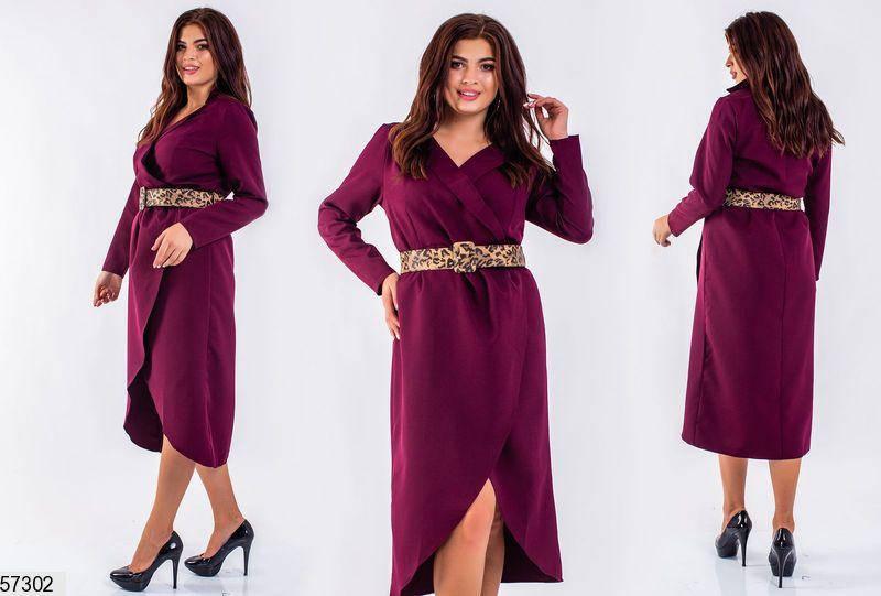 Платье больших размеров на запах бордовое, фото 2