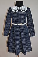 Нарядное детское платье для девочек 5-7лет, синего цвета в горошек, фото 1