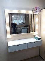 Навесной столик с деревянным зеркалом