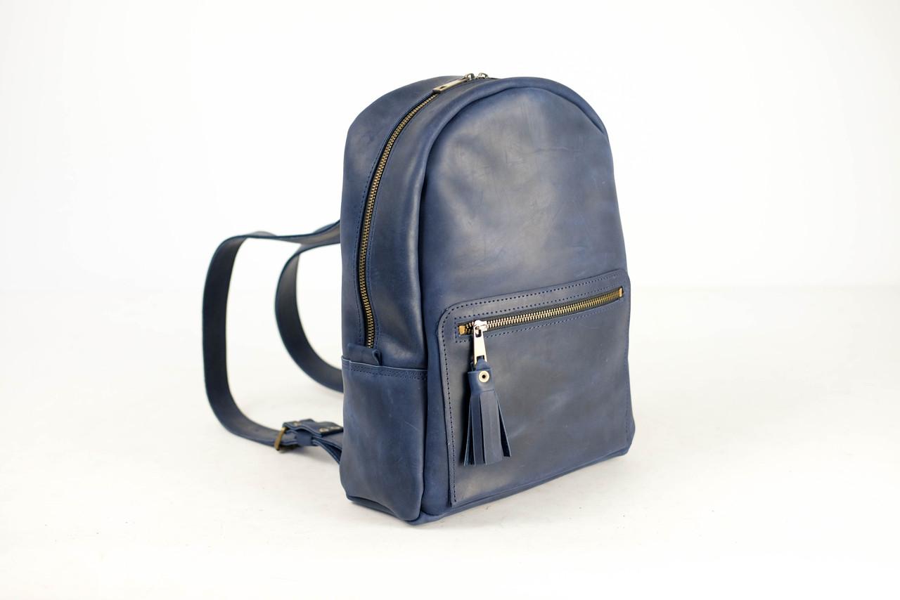 Женский кожаный рюкзак Лимбо, размер средний Винтажная кожа цвет Синий
