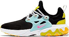 Женские кроссовки Nike React Presto Black Teal Tint Cyber (GS) CJ7690-001, Найк Реакт Престо