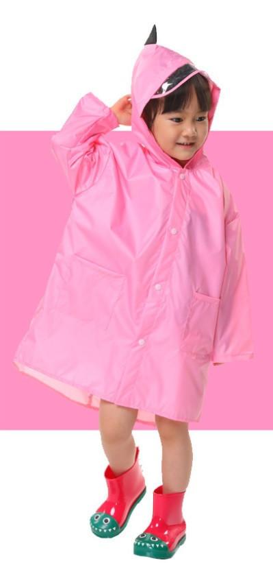 """Дитячий плащ-дощовик SUNROZ з капюшоном на кнопках """"Дракончик"""" XL Рожевий (SUN5275)"""