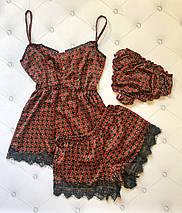"""Шелковый женский комплект-пижама """"Samantha"""" с кружевом (3 цвета), фото 2"""