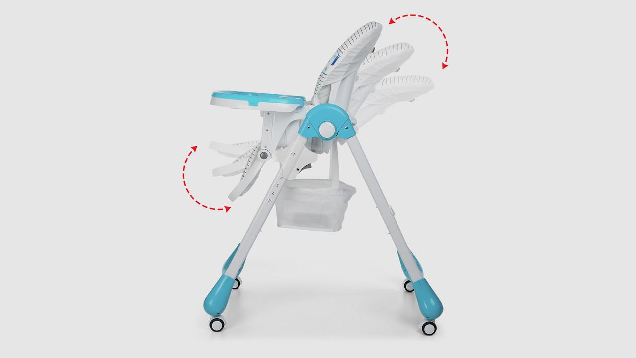 Стульчик для кормления BAMBI.M3233CATBLUE. Складной. 4 колеса. Котики. Голубой
