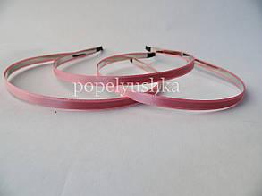Обруч металевий з атласом 0,6 см яскраво-рожевий