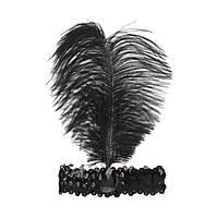 Пов'язка на голову з пером, колір чорний, ретро стиль, стиль Чикаго, гангстерський стиль, фото 1