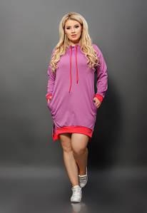 """Трикотажное платье-туника в спортивном стиле """"Debbie"""" с капюшоном и карманами (большие размеры)"""