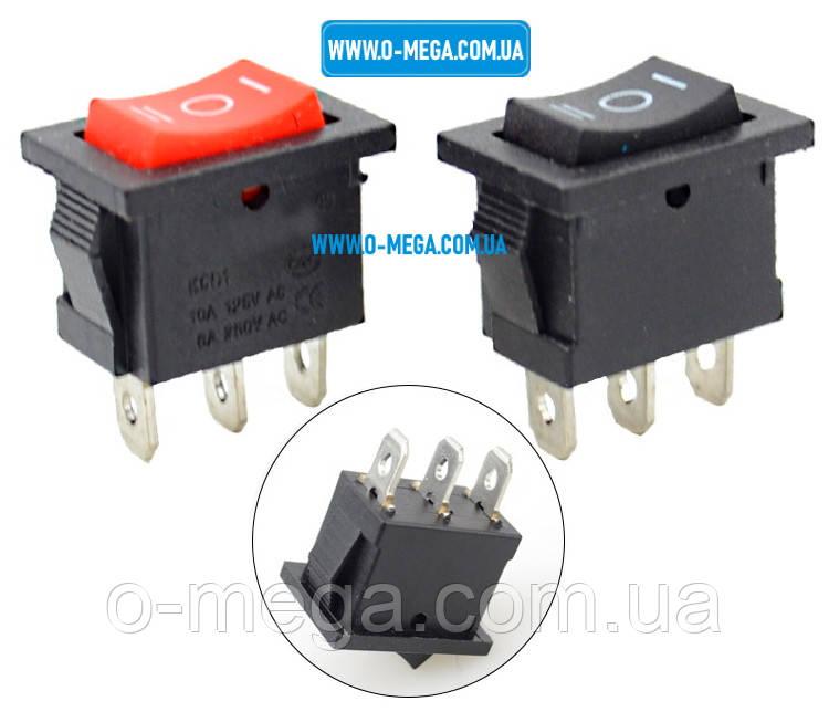 Кнопочный выключатель, клавиша средняя, 3 положения с фиксацией, защёлка 18,8 * 12,9 мм.