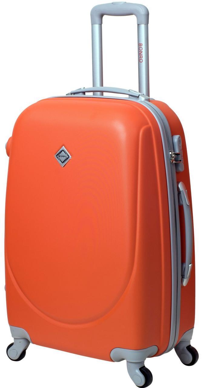 Пластиковый дрожный чемодан на колесах Bonro Smile большой бордовый