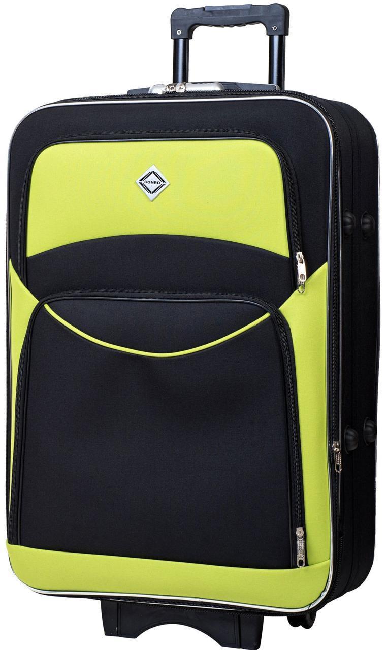 Дорожный чемодан на колесах тканевый Bonro Style большой черно-салатовый