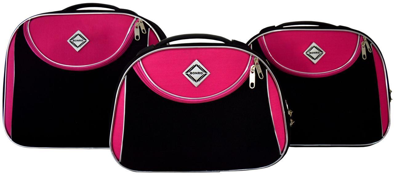 Набор кейсов Bonro Style 3 штуки черно-розовый (10100312)