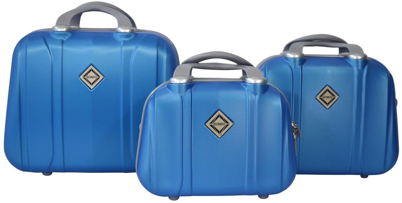 Набор кейсов Bonro Smile 3 штуки голубой (10090308)