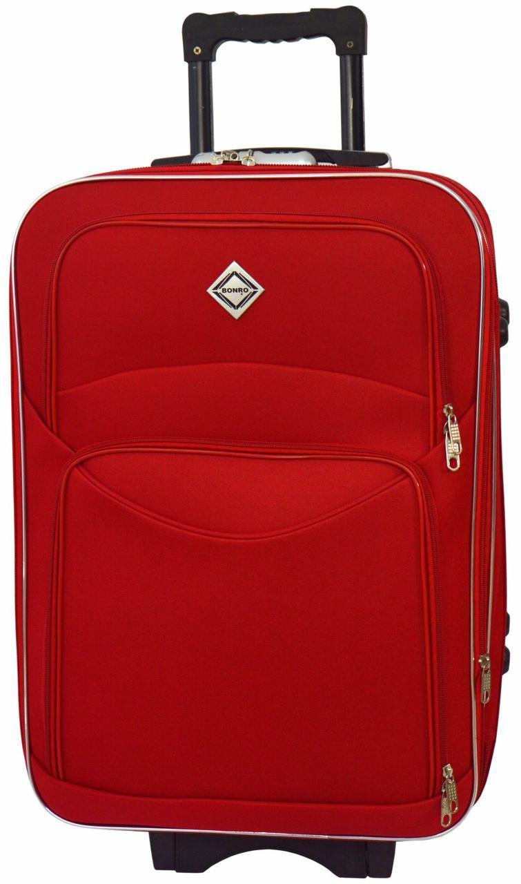 Дорожный чемодан на колесах тканевый Bonro Style средний красный