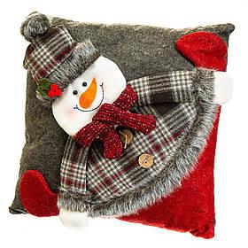 Новогодняя подушка Снеговик 33*33*12 см (037NC-1)