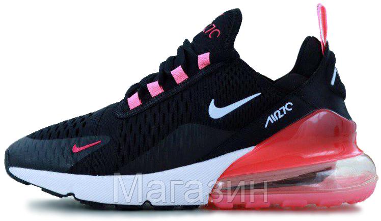 Женские кроссовки Nike Air Max 270 Black/Pink (Найк Аир Макс 270) черные с розовым