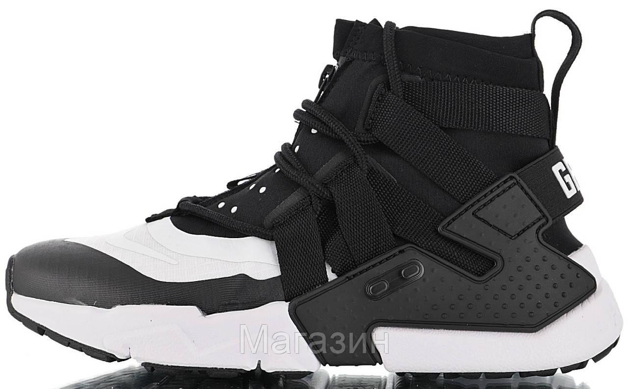Мужские кроссовки Nike Air Huarache Gripp Black/White высокие Найк Хуарачи Грипп черные 45 размер