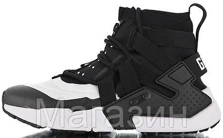 Мужские кроссовки Nike Air Huarache Gripp Black/White высокие Найк Хуарачи Грипп черные 45 размер, фото 2
