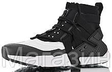 Мужские кроссовки Nike Air Huarache Gripp Black/White высокие Найк Хуарачи Грипп черные 45 размер, фото 3