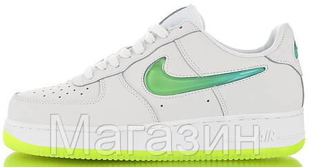 Женские кроссовки Nike Air Force 1 '07 Premium 2 Jelly White/Volt Найк Аир Форс белые, фото 2