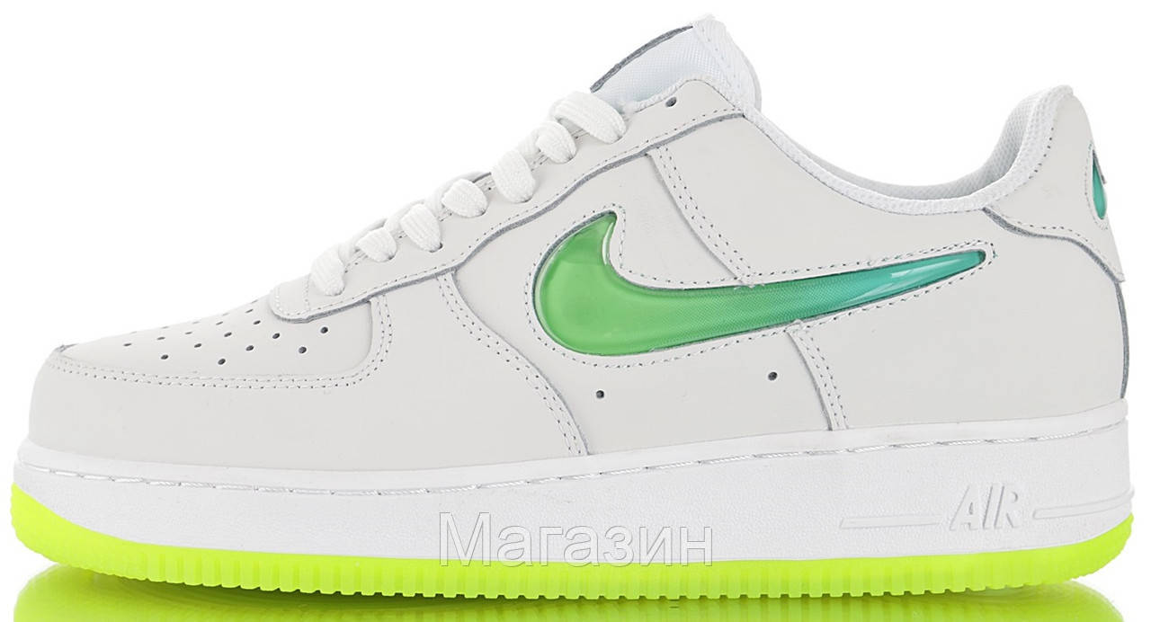 Женские кроссовки Nike Air Force 1 '07 Premium 2 Jelly White/Volt Найк Аир Форс белые