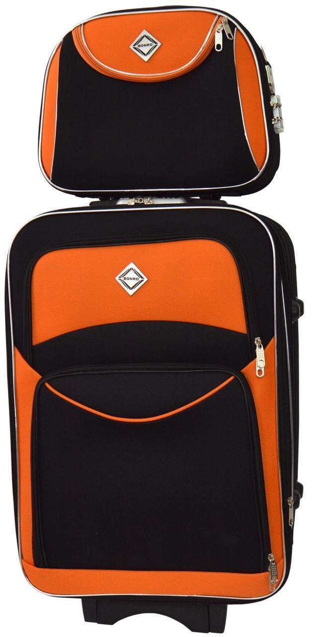 Комплект чемодан и кейс Bonro Style маленький черно-оранжевый (10120105)