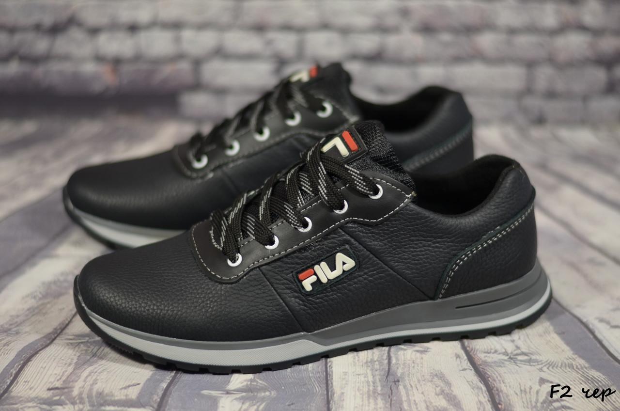 Мужские кожаные кроссовки Fila  (Реплика) (Код:  F2 чер   ) ► Размеры [40,41,42,43,44,45]