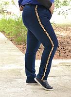 Джинсовые брюки декорированы камнями, с 48-82 размер, фото 1
