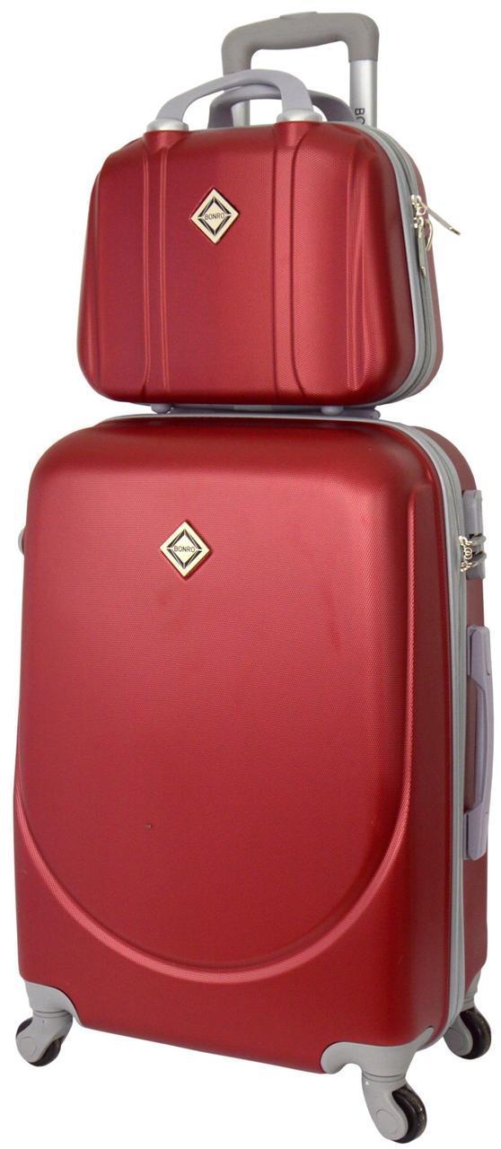 Комплект чемодан и кейс Bonro Smile маленький бордовый (10110106)