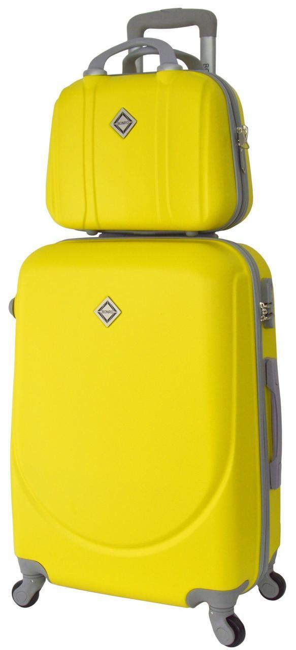 Комплект чемодан и кейс Bonro Smile маленький желтый (10110102)